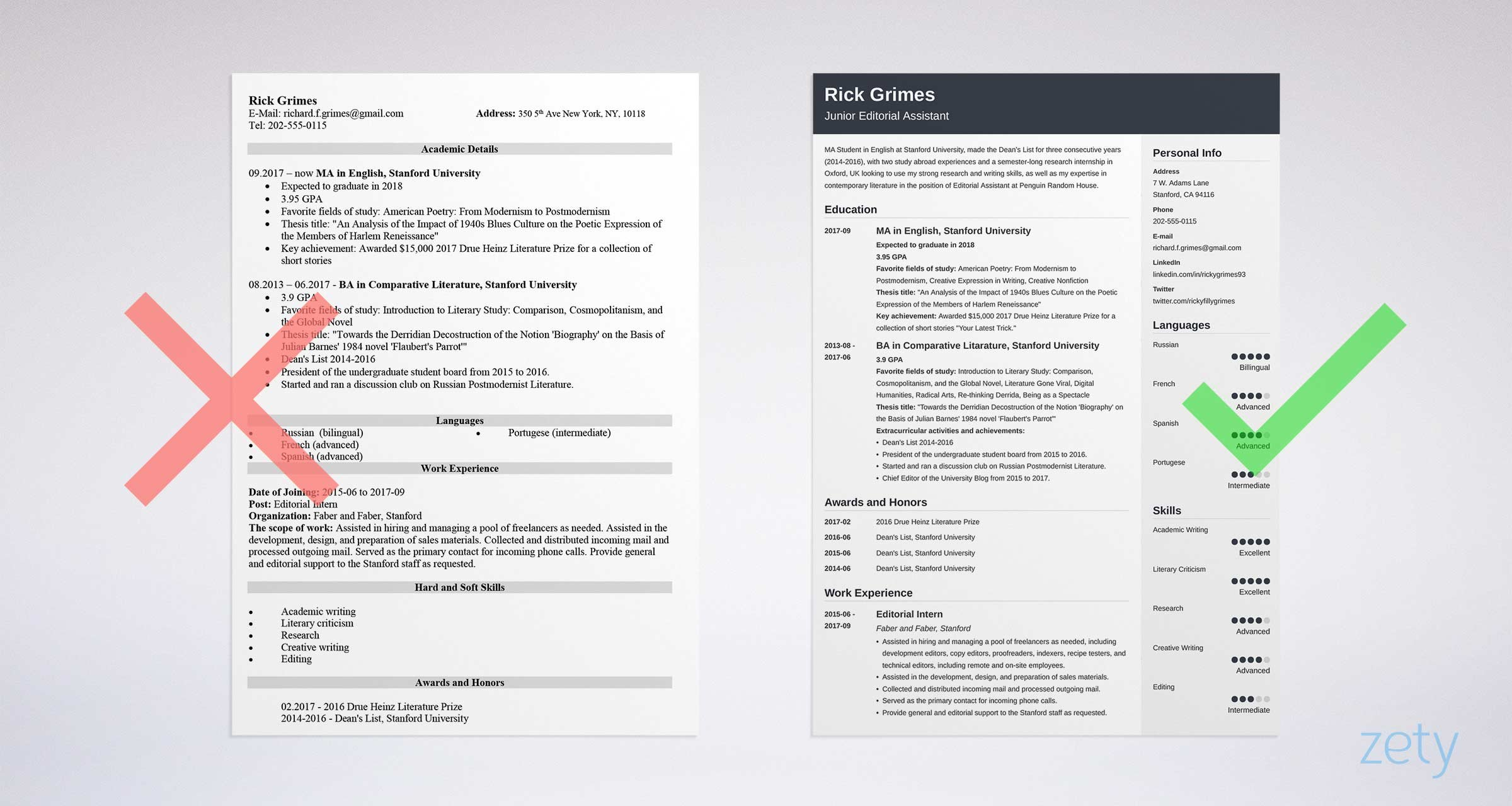 right vs wrong student resume templates