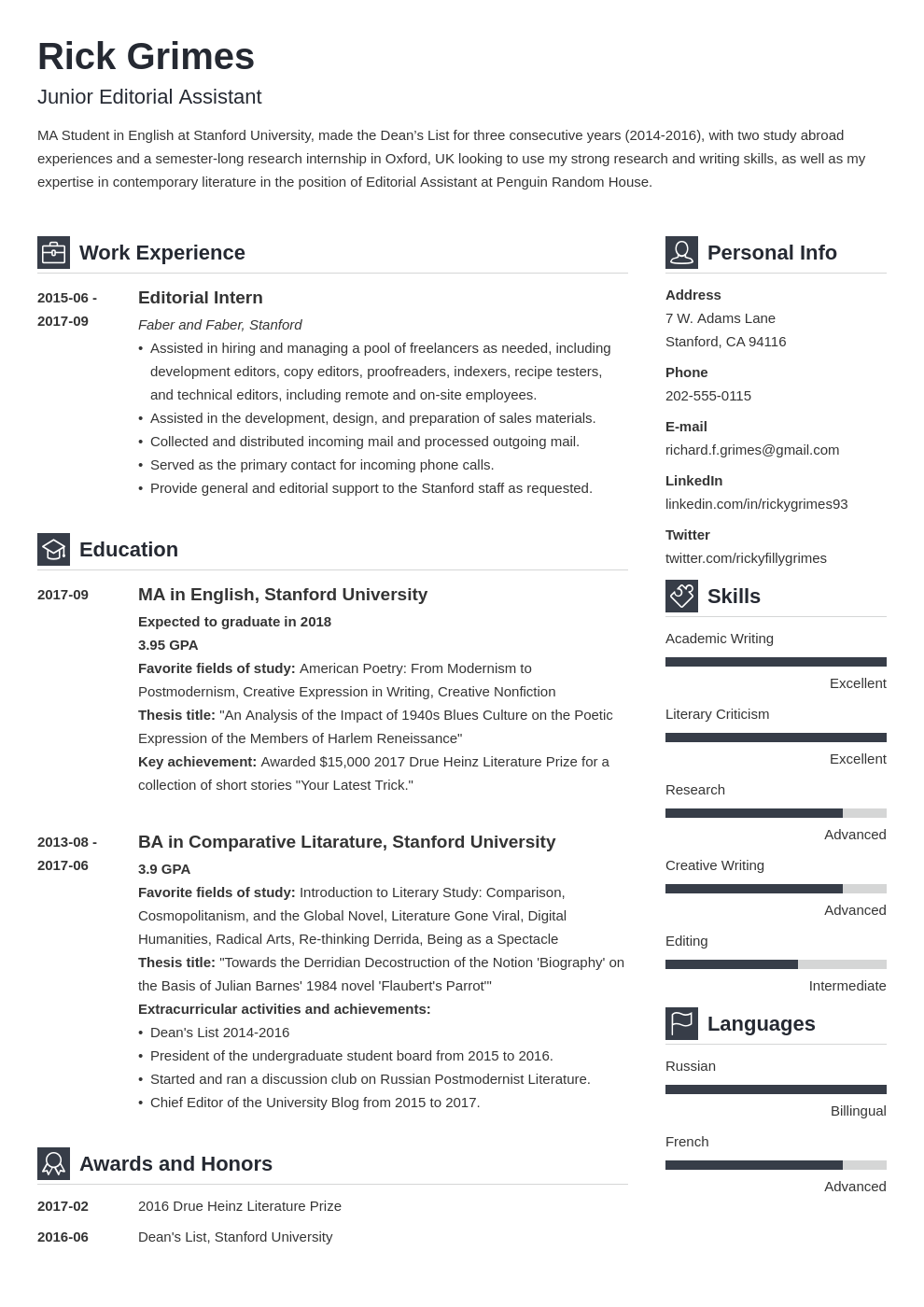 resume guide for students