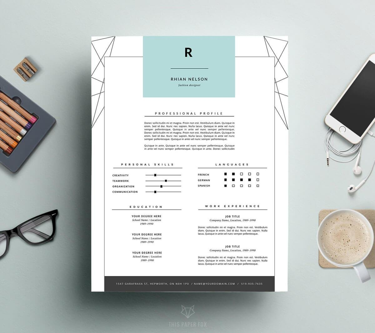 college grad resume template with geometric design