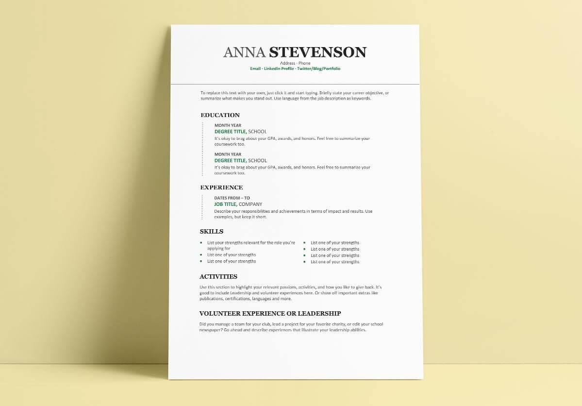 college student resume template in word