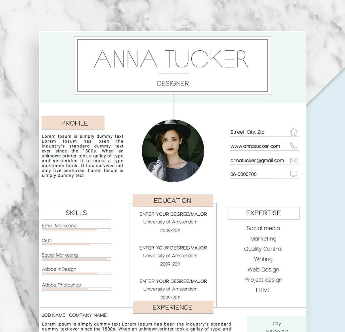 graduate student resume template in pastel colors