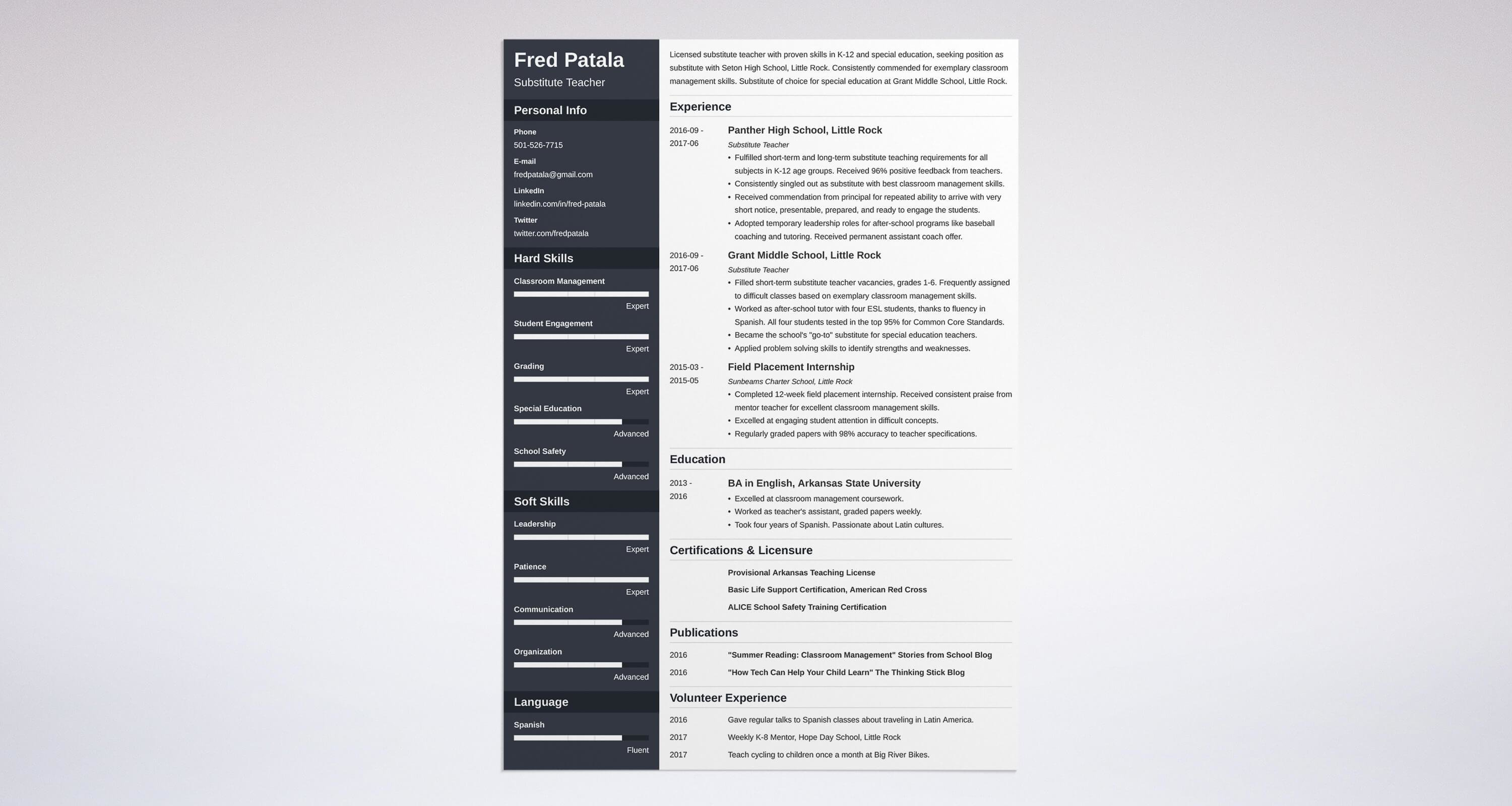 substitute teacher resume guide with a sample 20 examples - Substitute Teacher Resume Samples