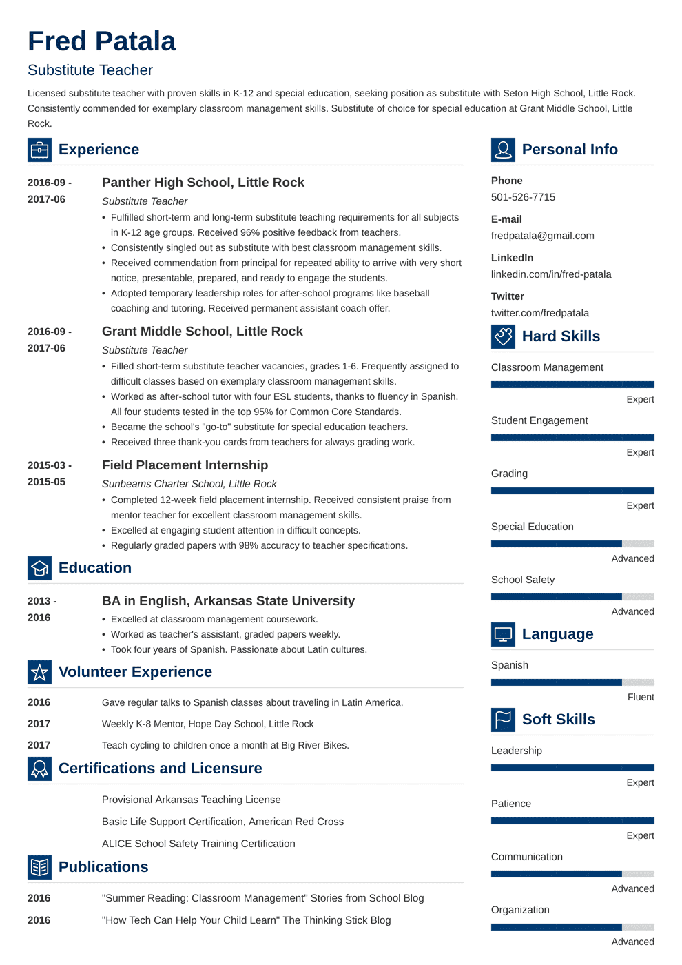 Substitute Teacher Resume: Guide with a Sample [+20 Examples]