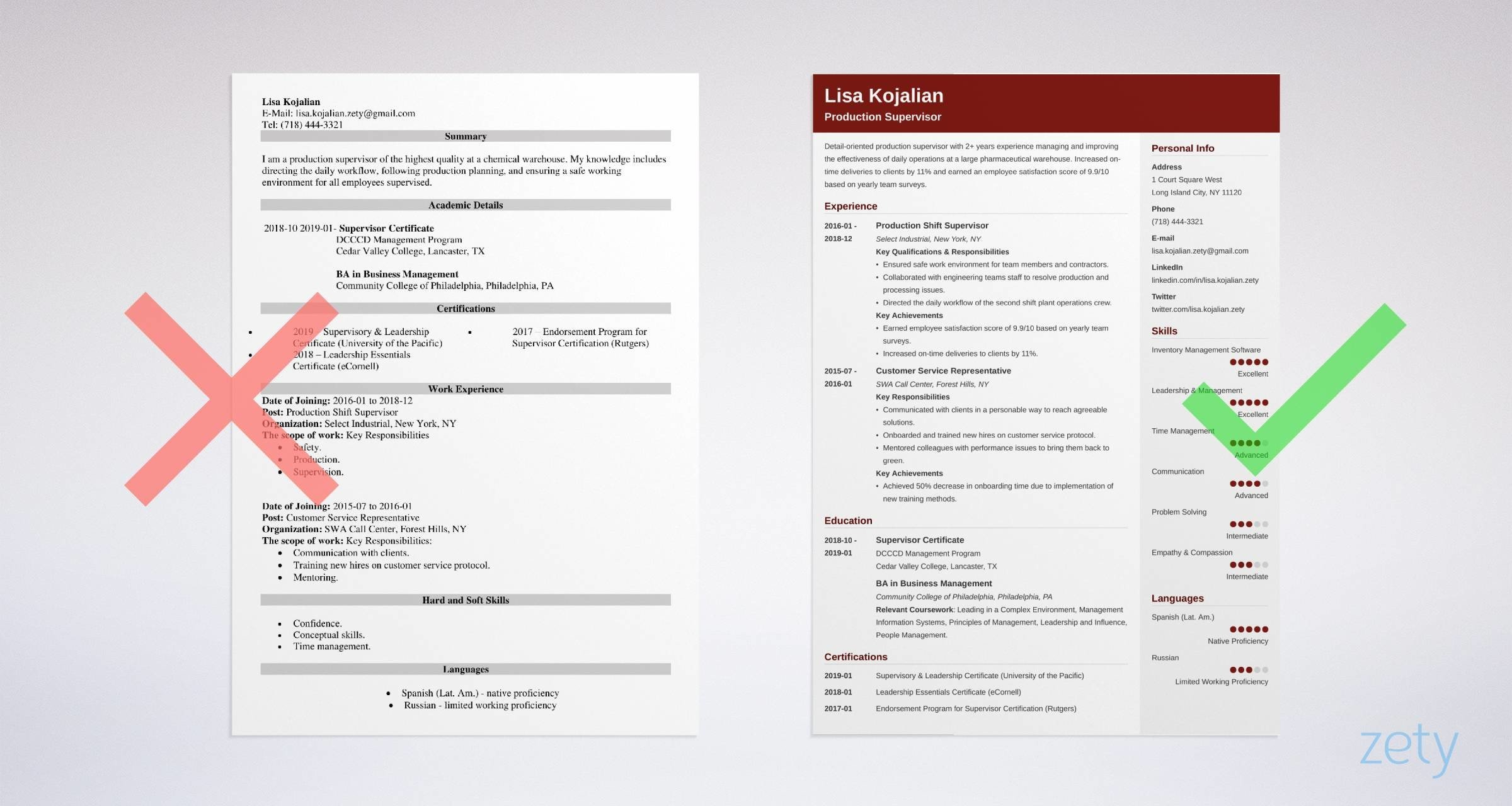 supervisor resume templates