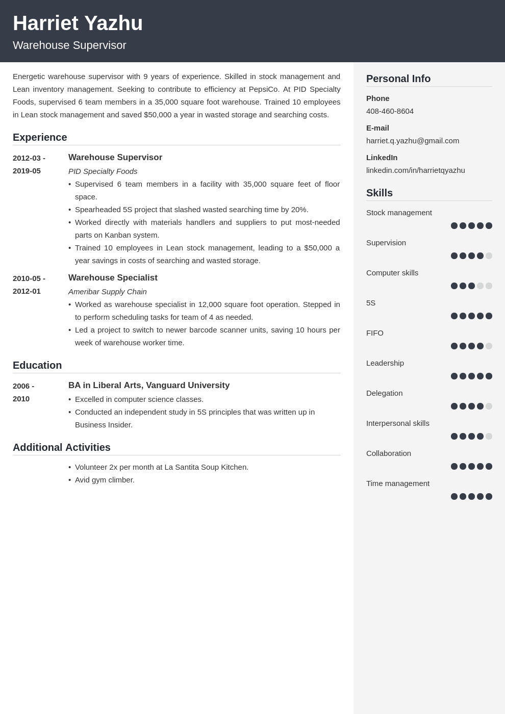 supervisor resume example template cubic