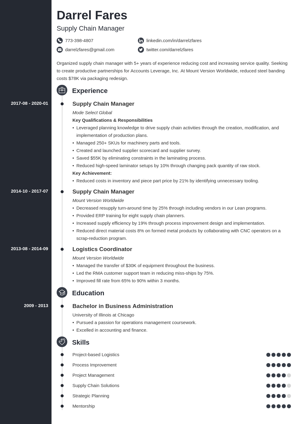 supply chain manager resume example template concept