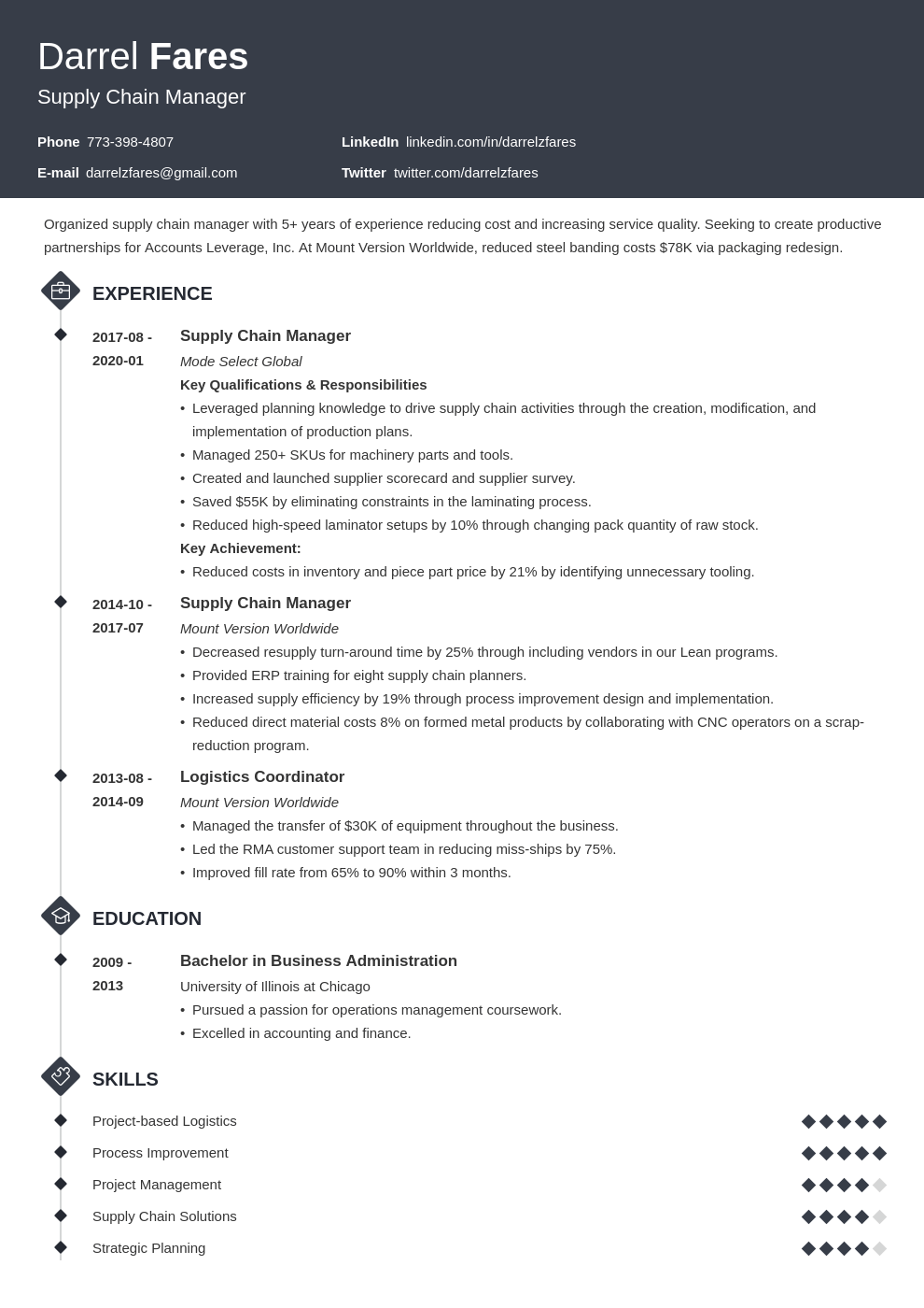 supply chain manager resume example template diamond