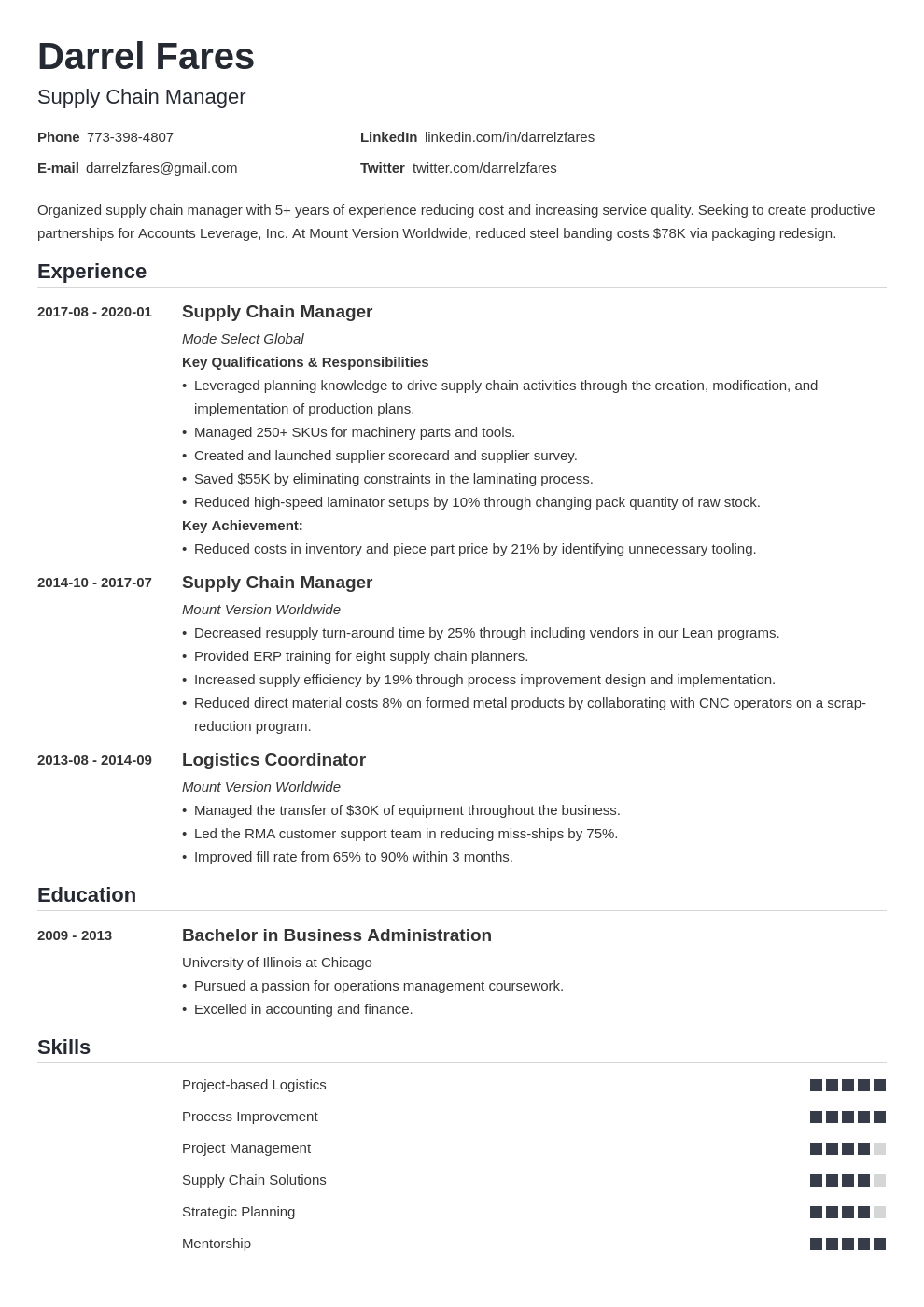 supply chain manager resume example template nanica