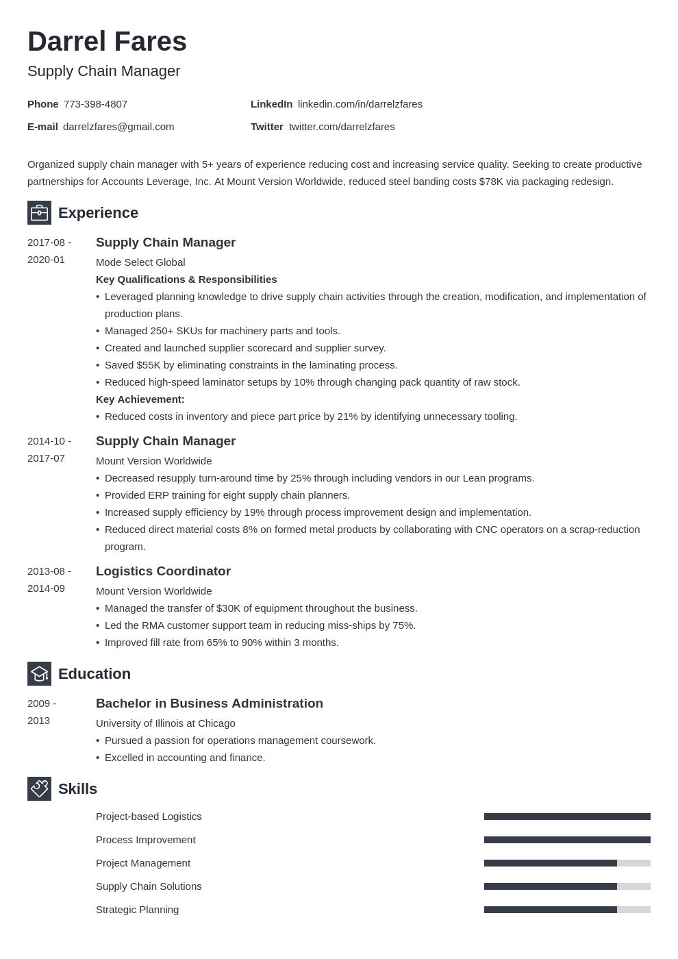 supply chain manager resume example template newcast