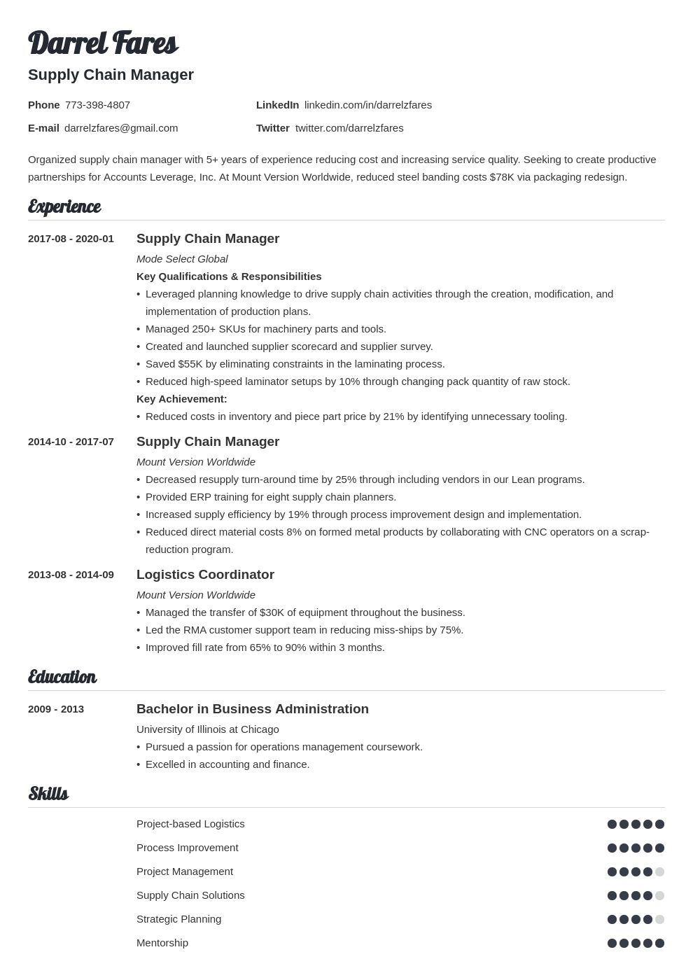 supply chain manager resume example template valera
