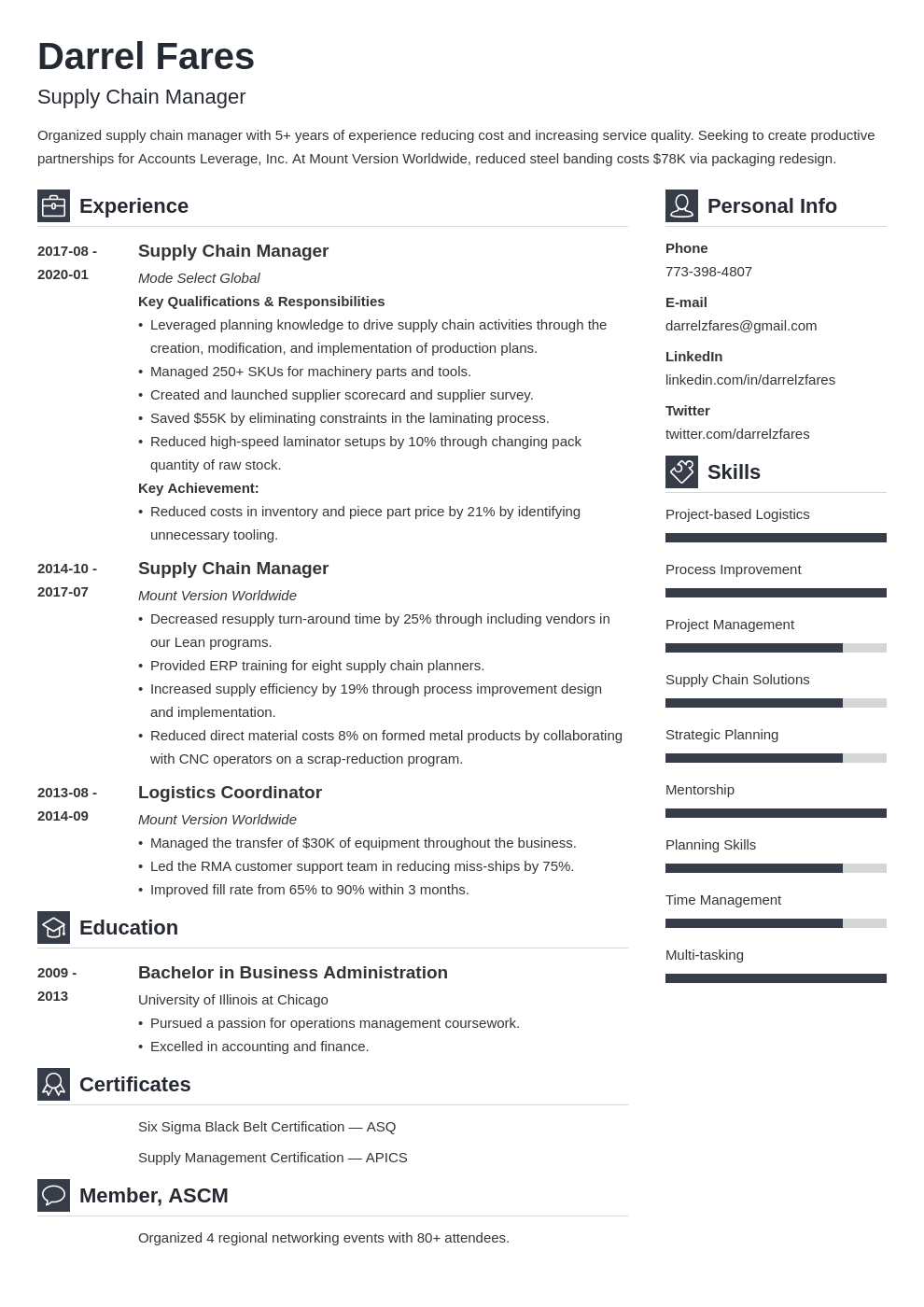 supply chain manager resume example template vibes