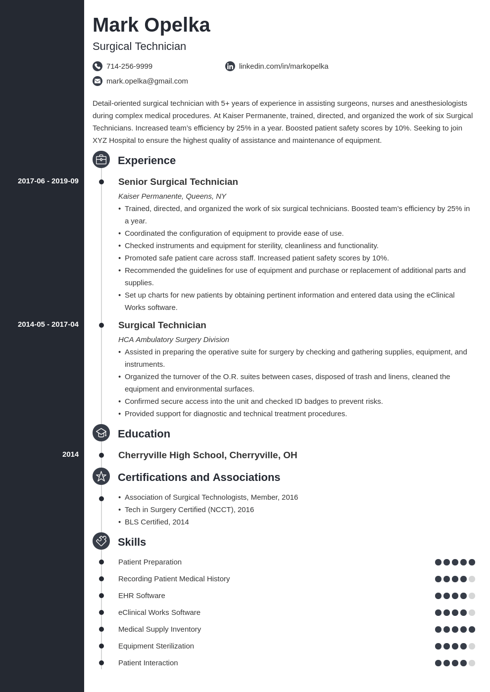 surgical tech resume example template concept