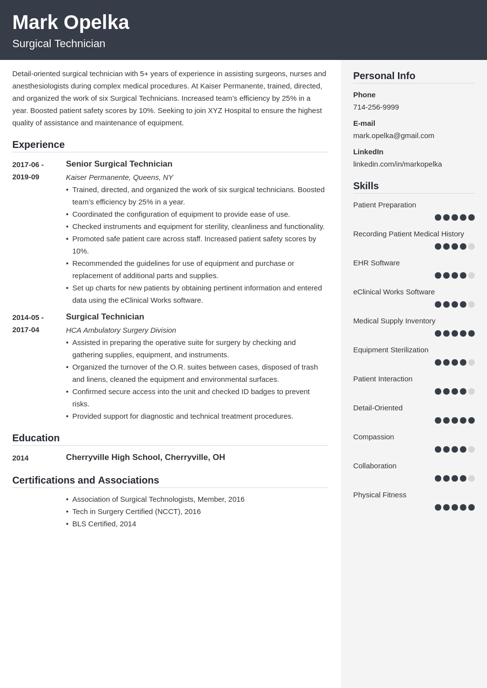 surgical tech resume example template cubic