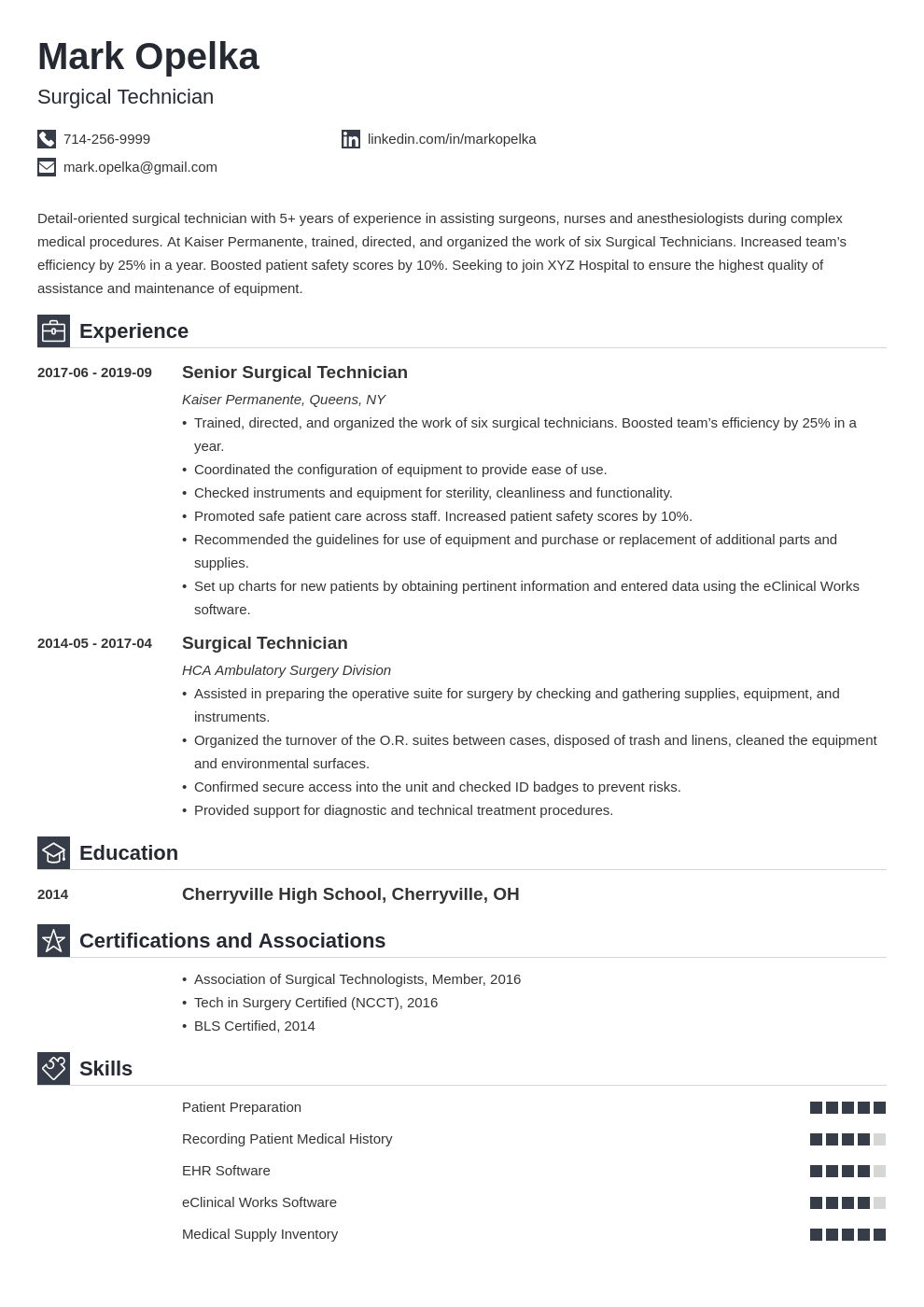 surgical tech resume example template iconic