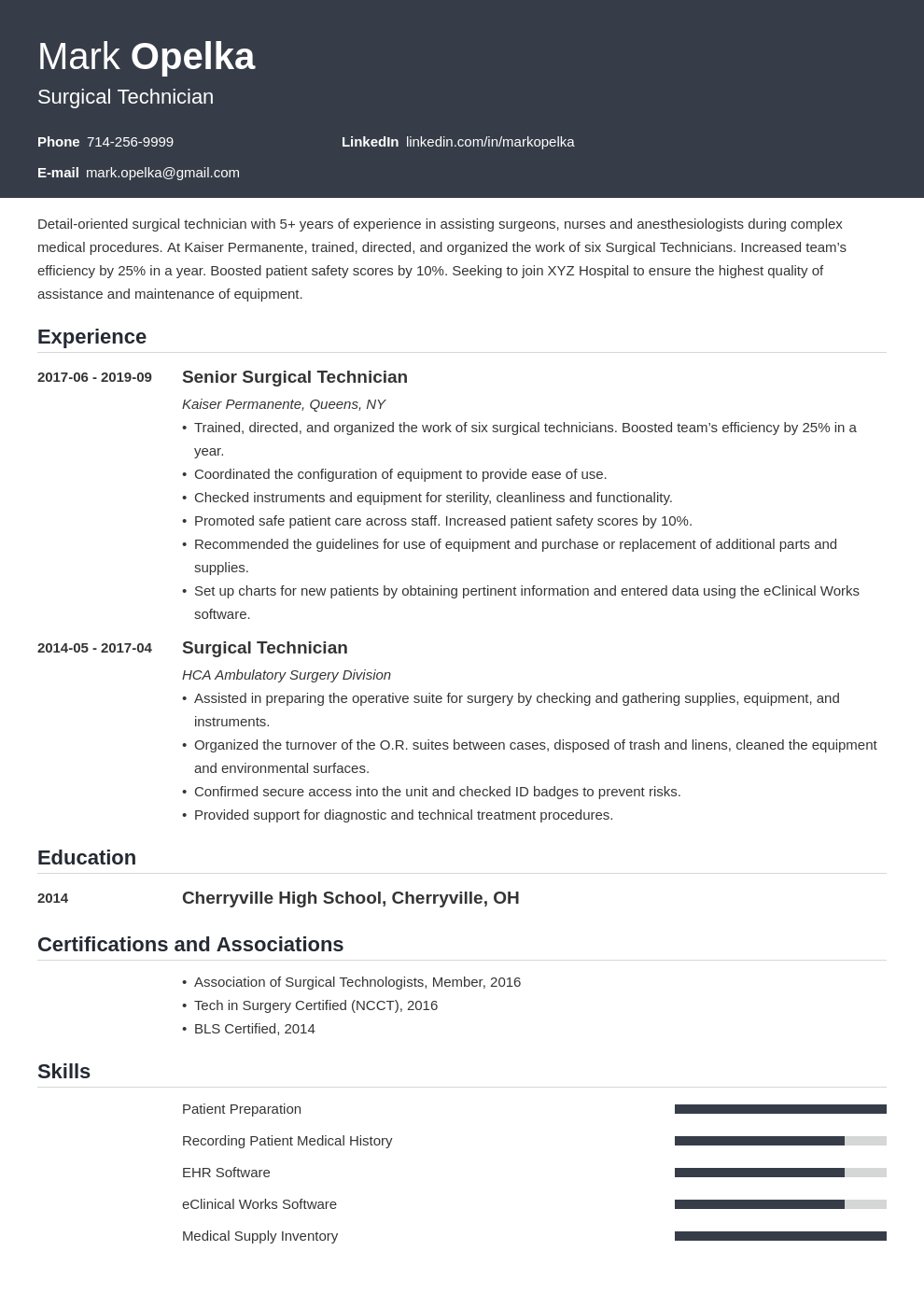 surgical tech resume example template influx