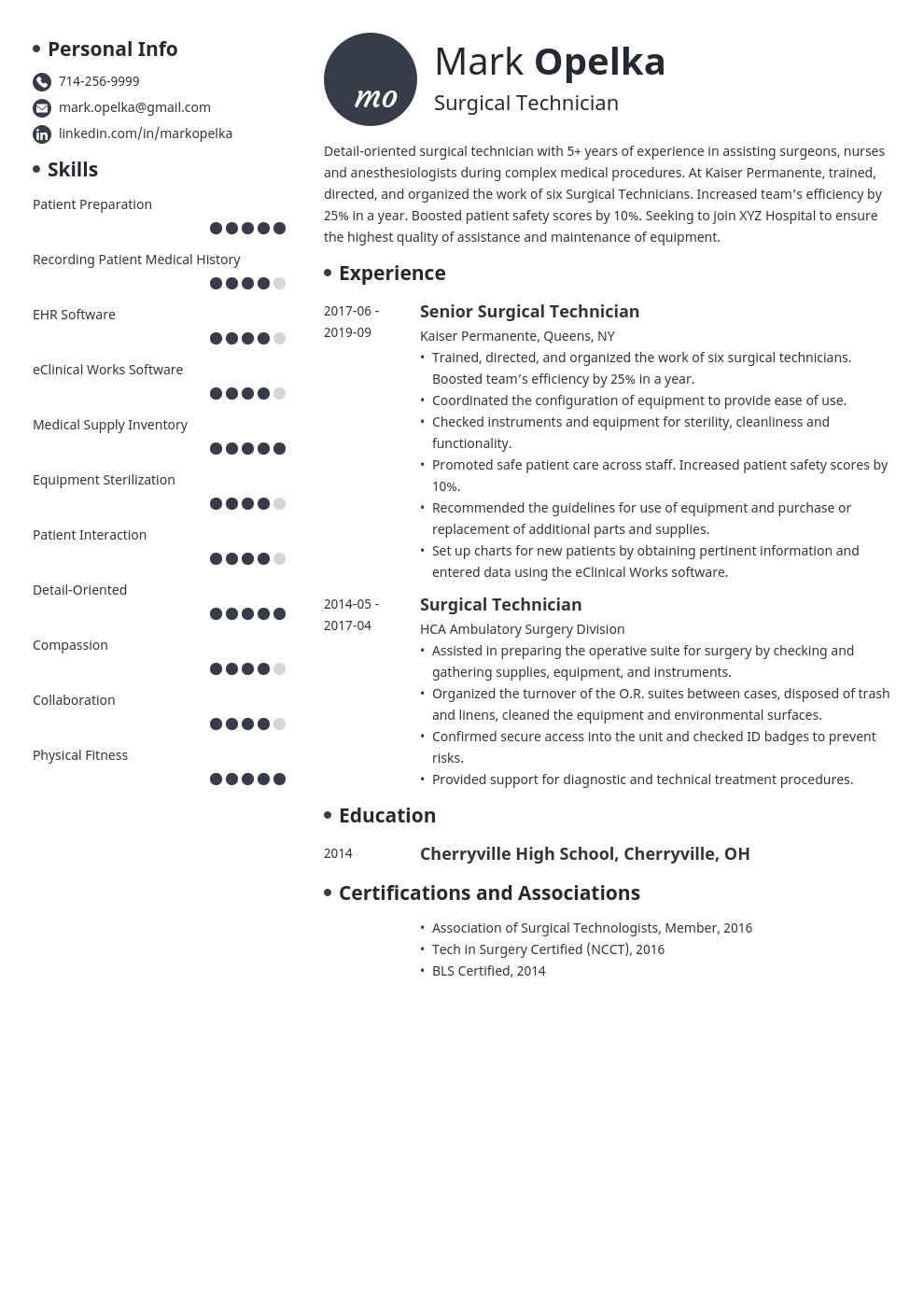 surgical tech resume example template initials
