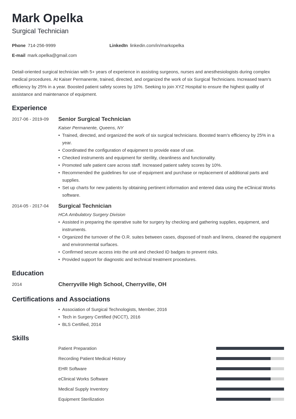 surgical tech resume example template minimo