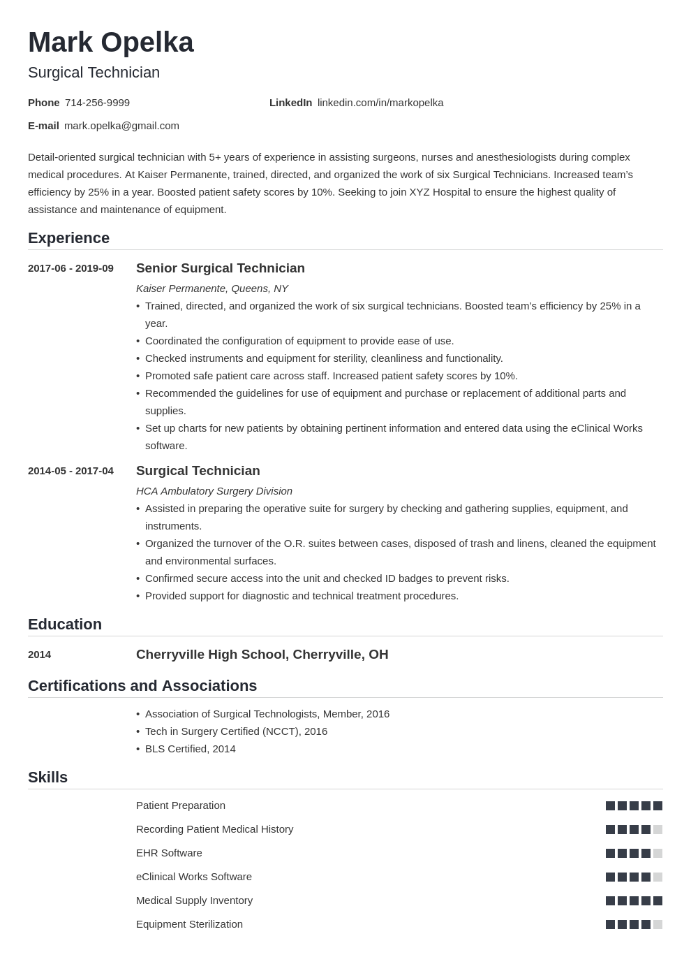 surgical tech resume example template nanica