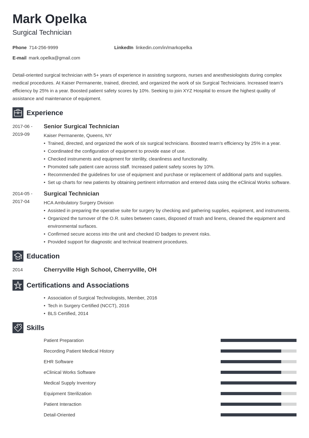 surgical tech resume example template newcast