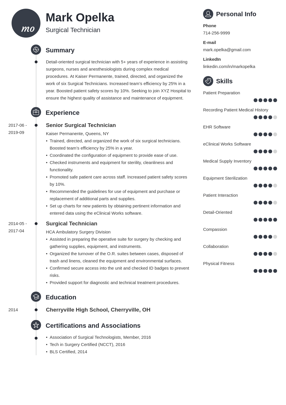 surgical tech resume example template primo