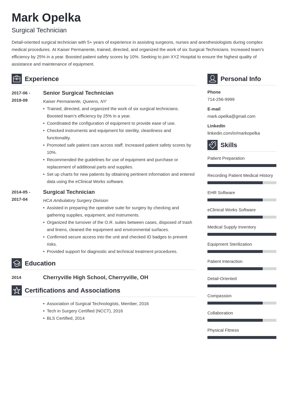 surgical tech resume example template vibes
