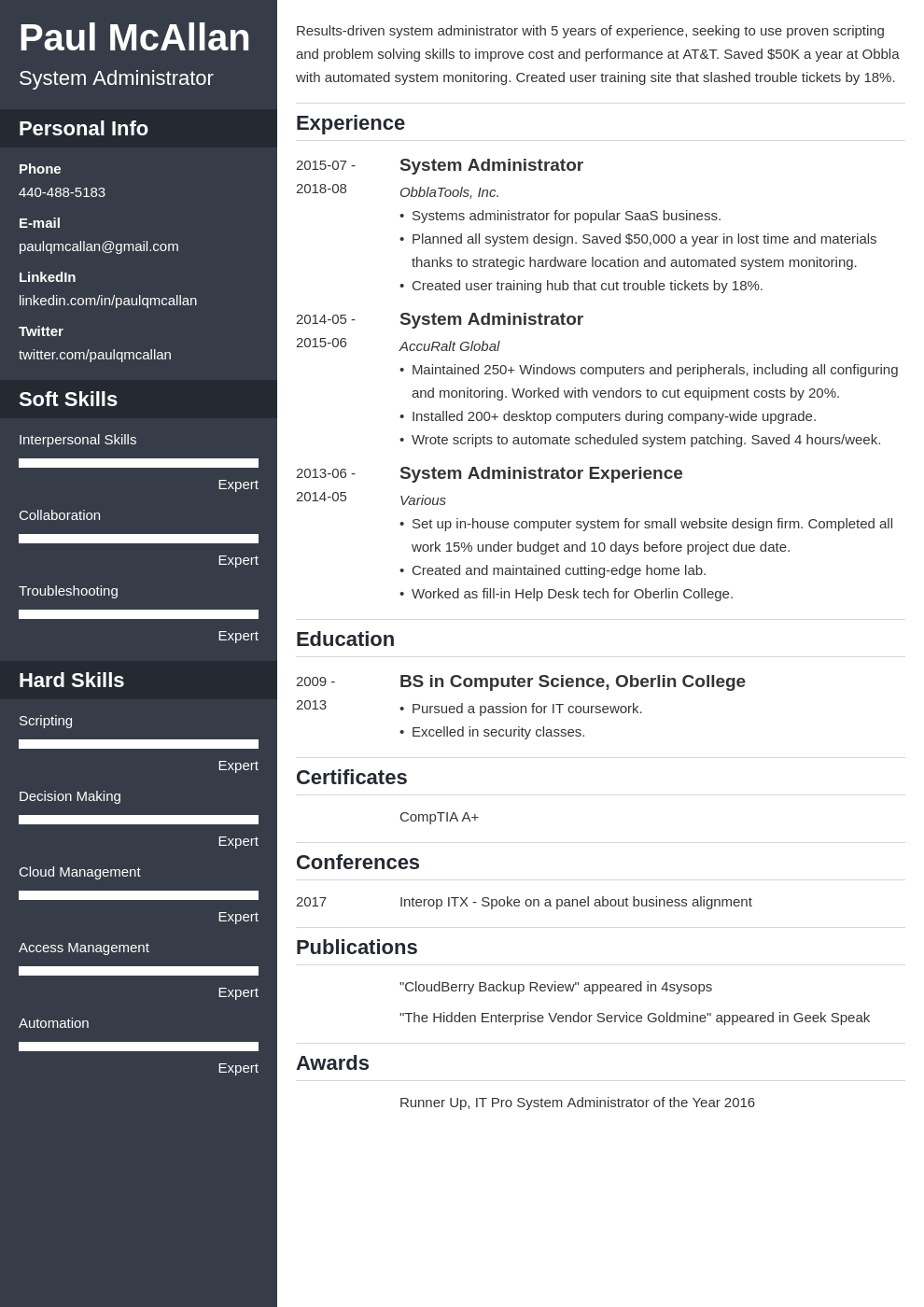 system administrator resume example template cascade