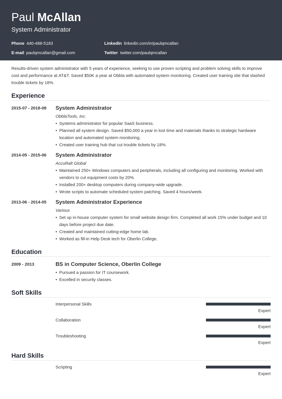 system administrator resume example template influx