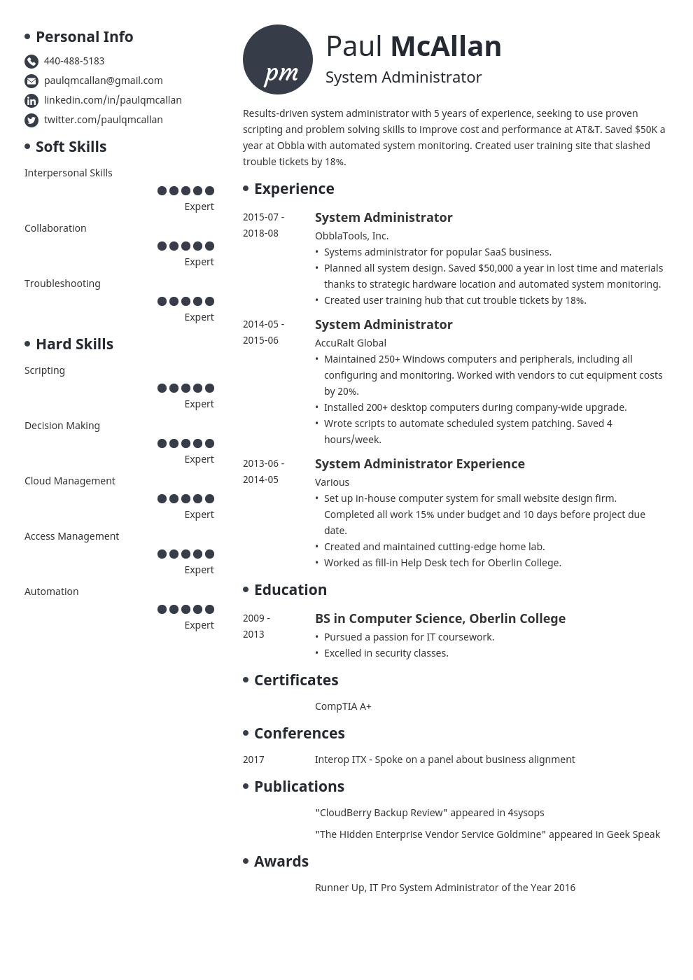 system administrator resume example template initials