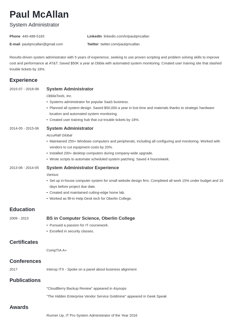system administrator resume example template minimo
