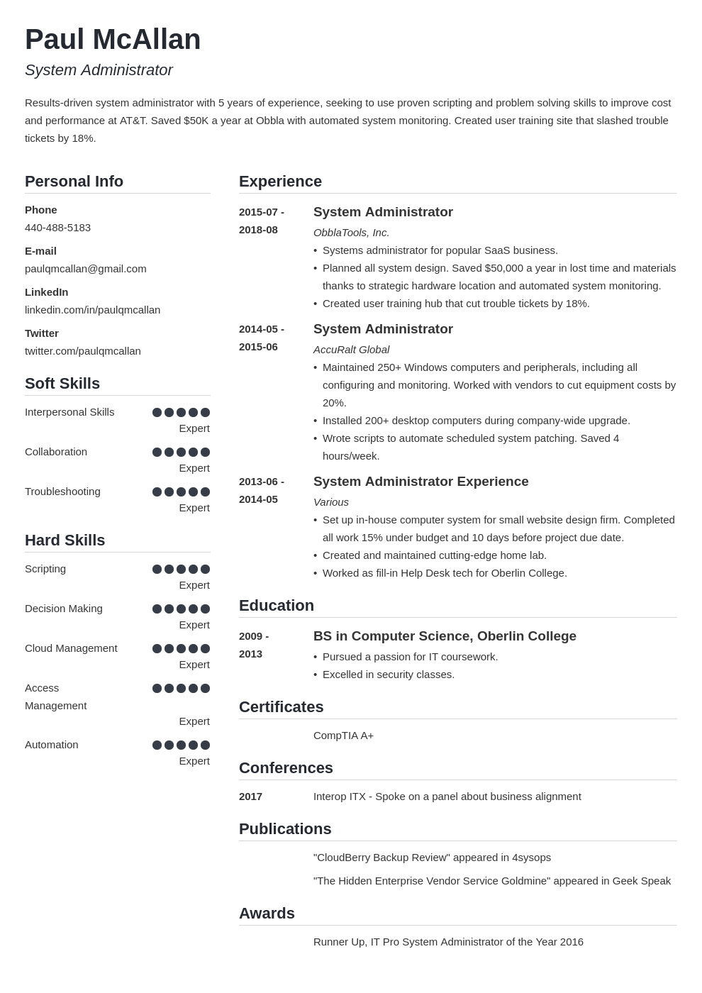 system administrator resume example template simple