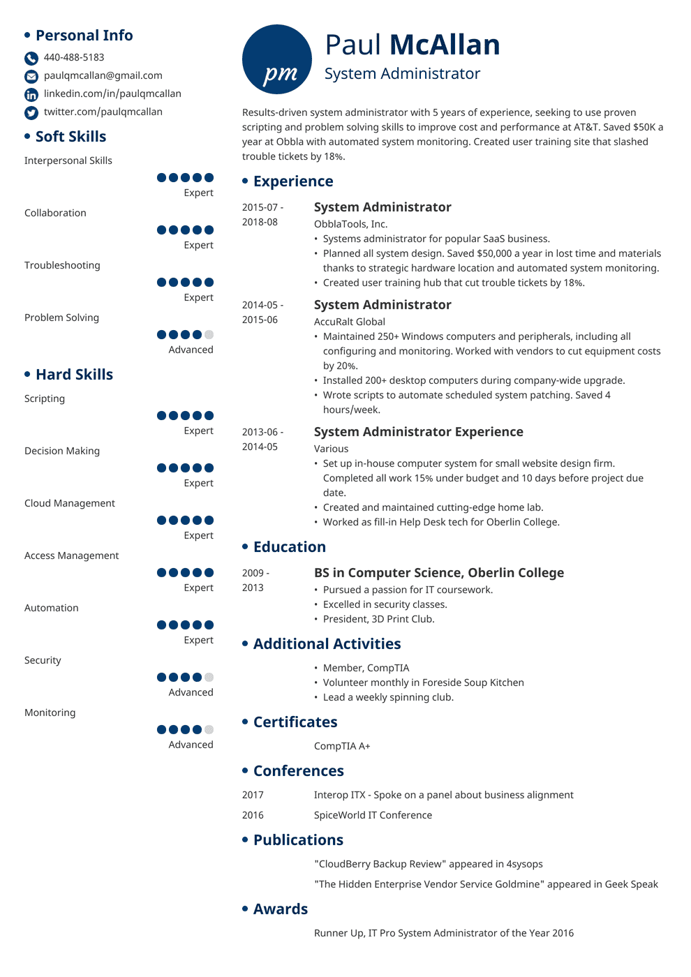 System Administrator Resume Sample And Writing Guide 20 Examples