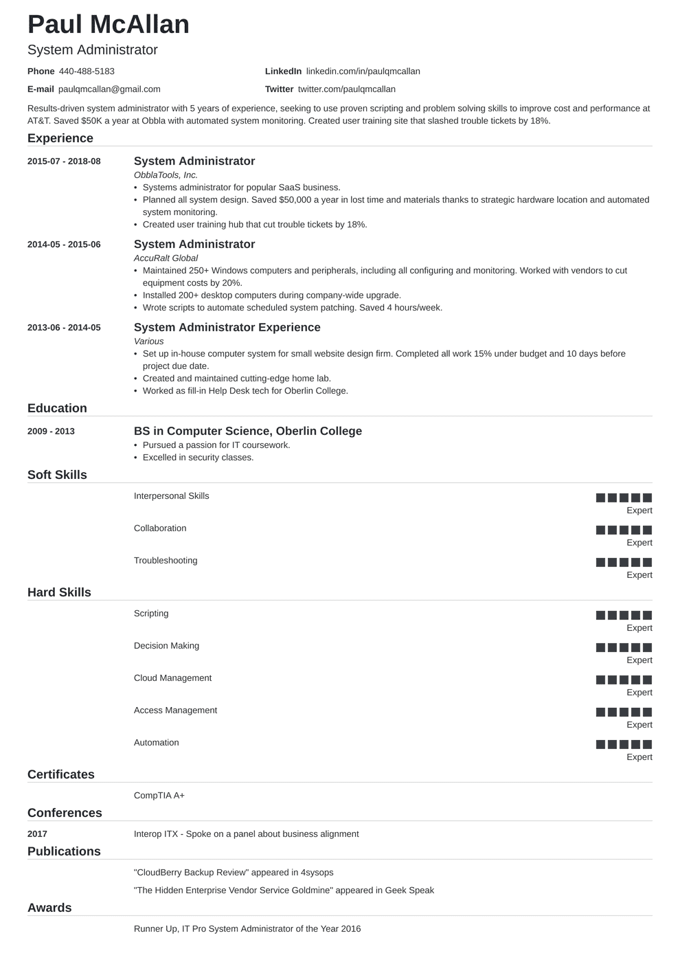 System Administrator Resume Sample and Writing Guide [20 Examples]
