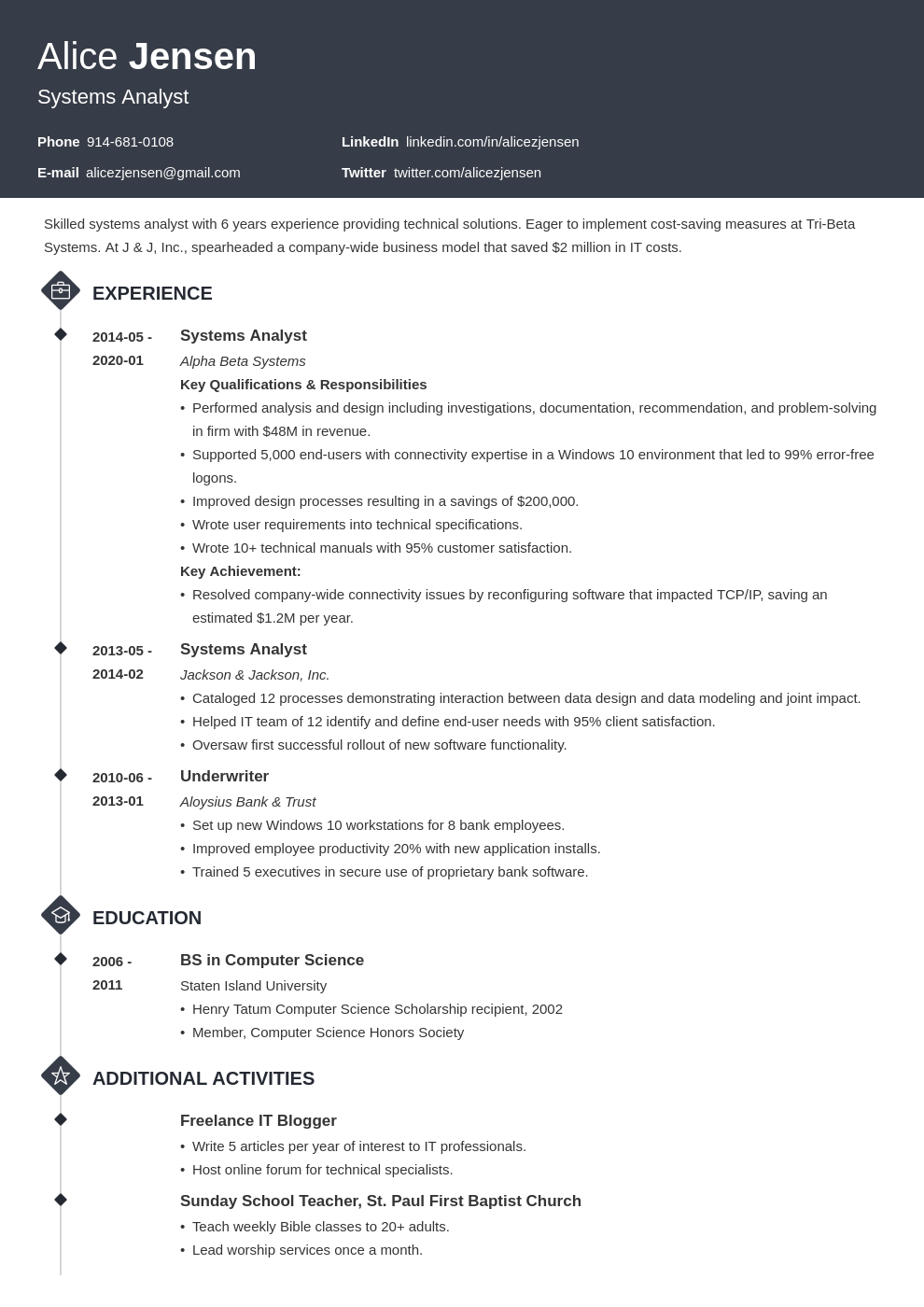system analyst resume example template diamond