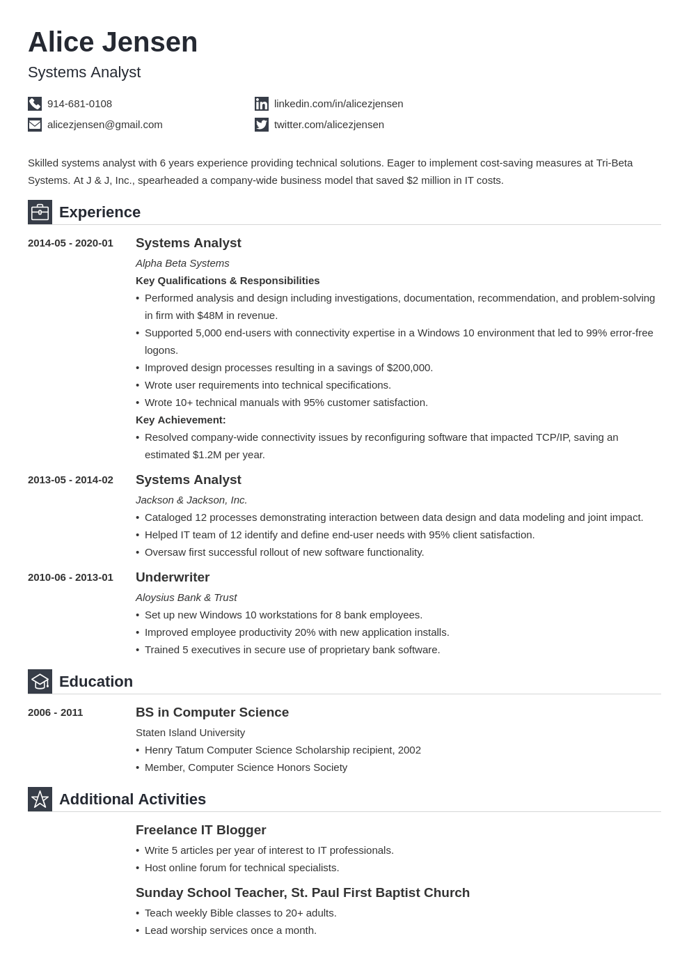 system analyst resume example template iconic