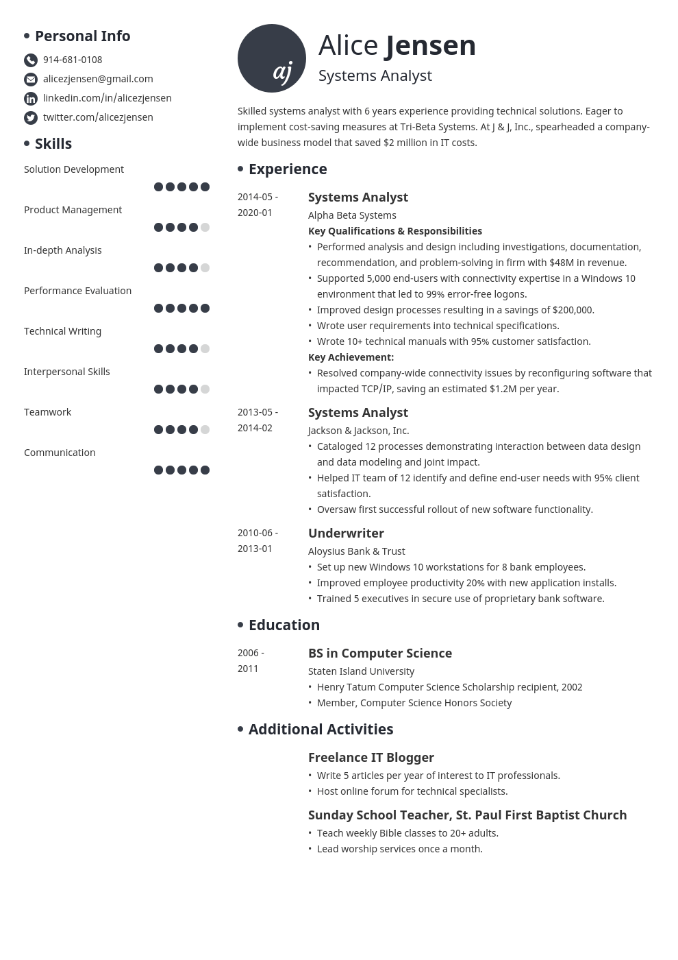 system analyst resume example template initials