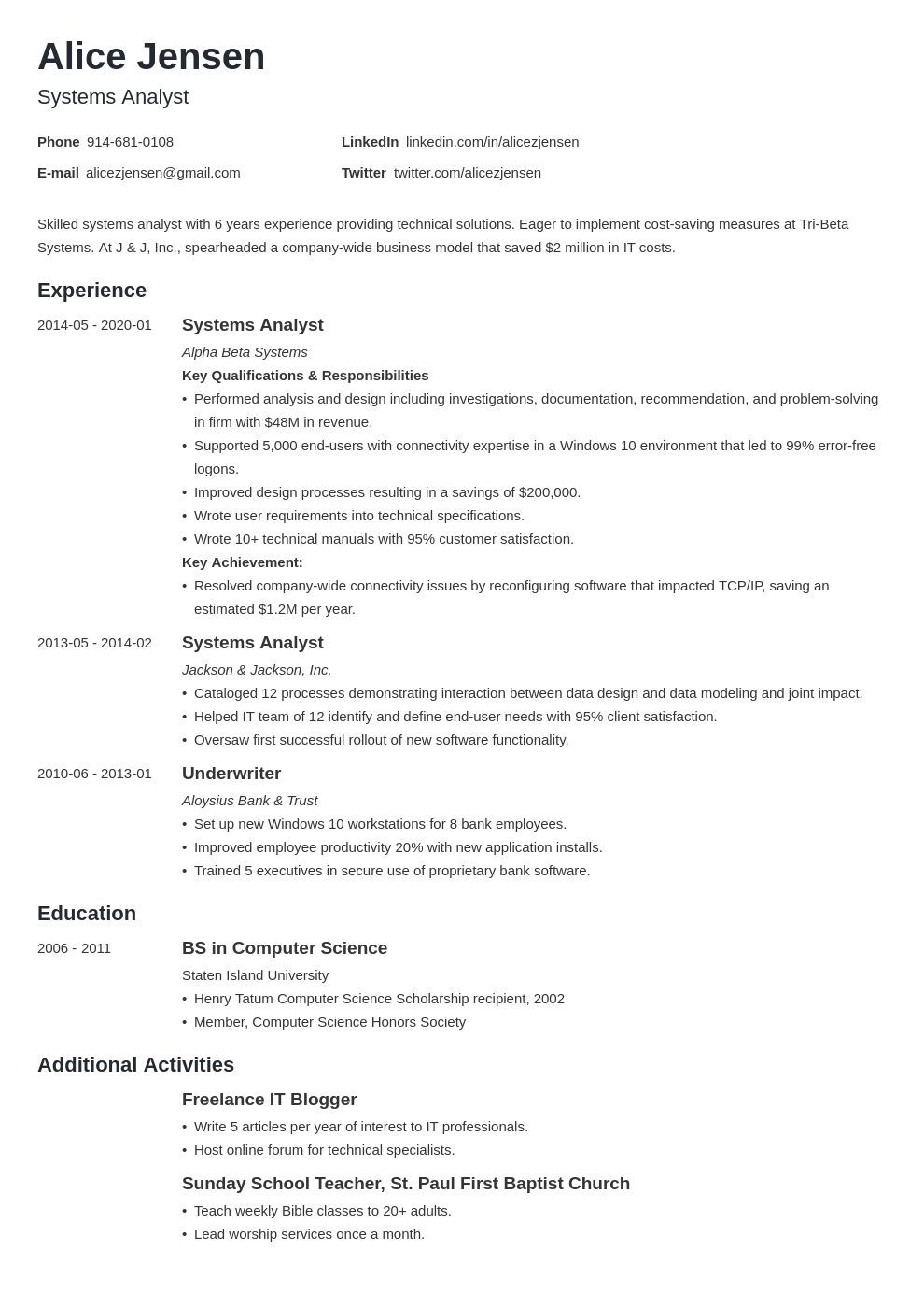 system analyst resume example template minimo