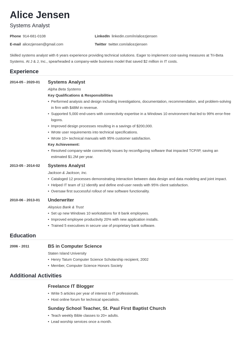 system analyst resume example template nanica