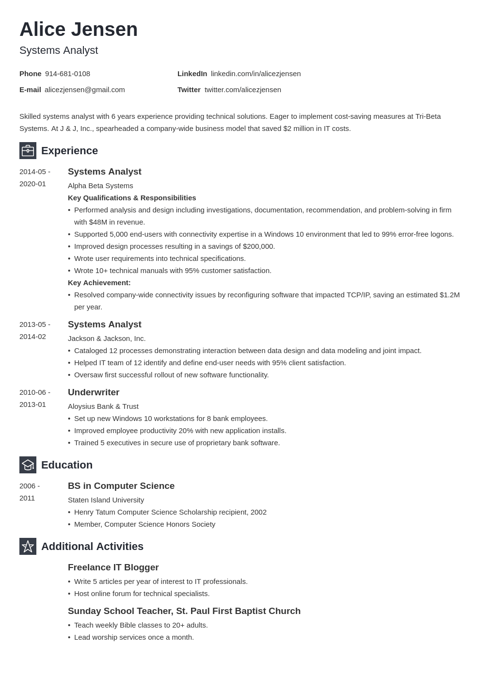 system analyst resume example template newcast