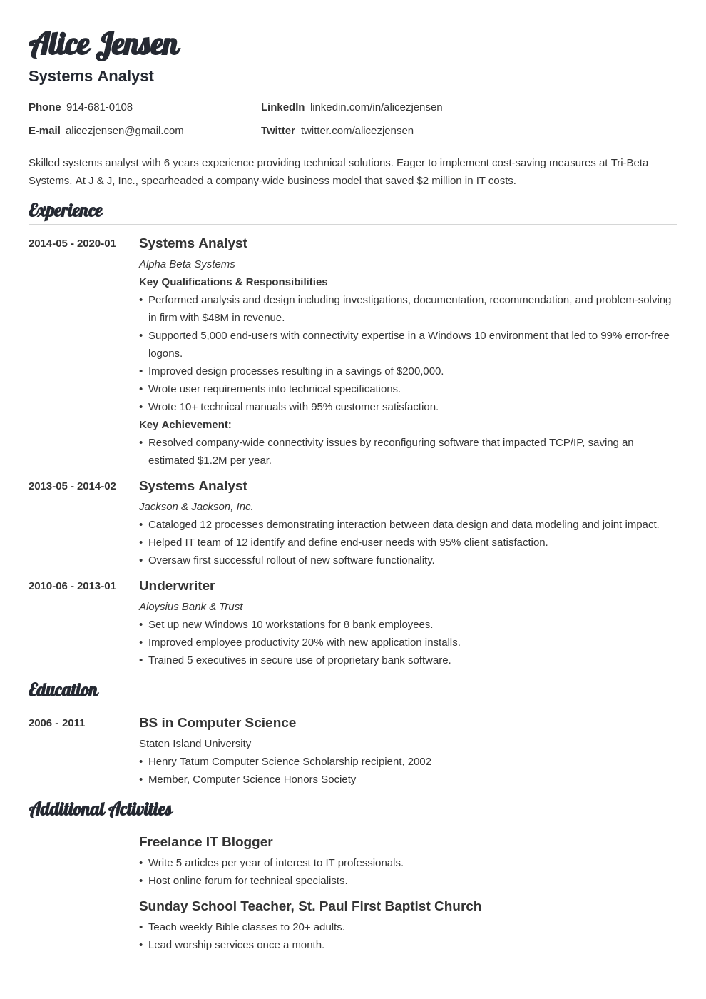 system analyst resume example template valera