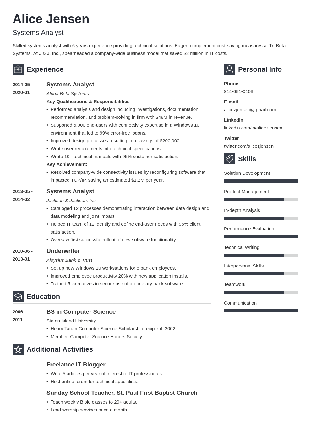 system analyst resume example template vibes