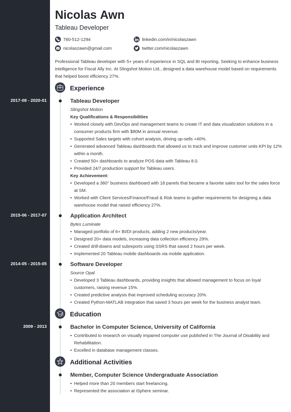 tableau developer resume example template concept