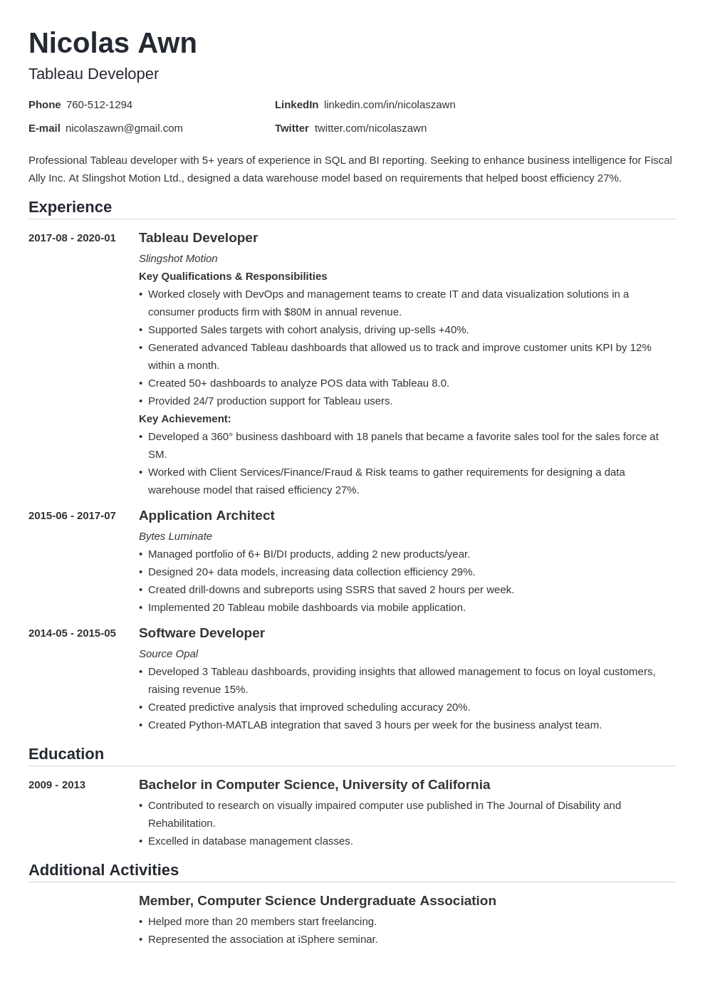 tableau developer resume example template nanica