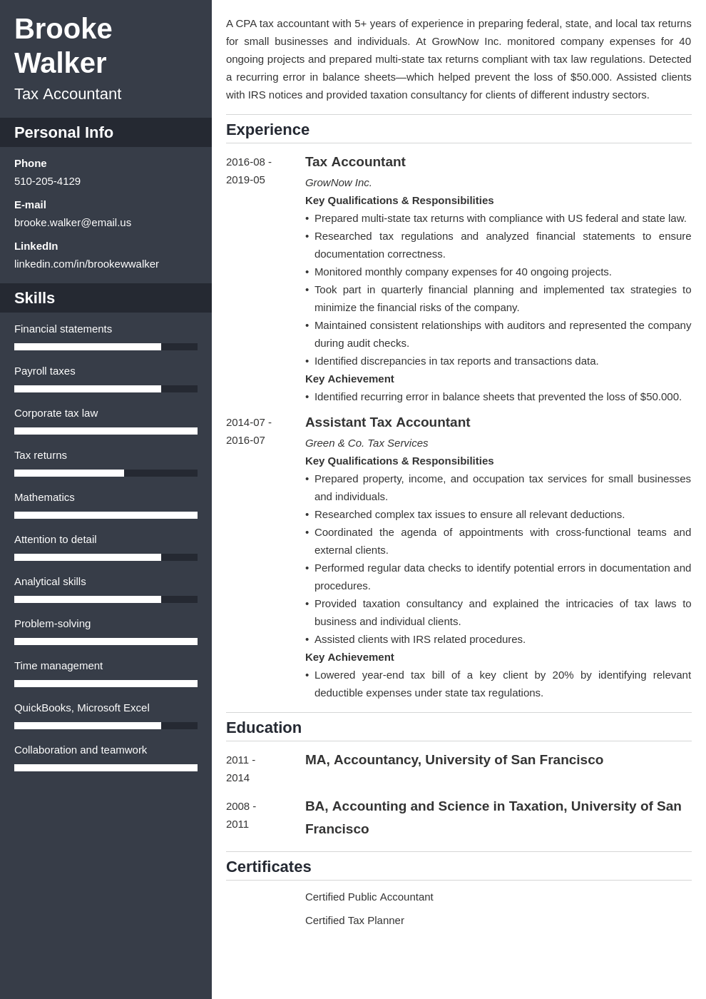 tax accountant resume example template cascade