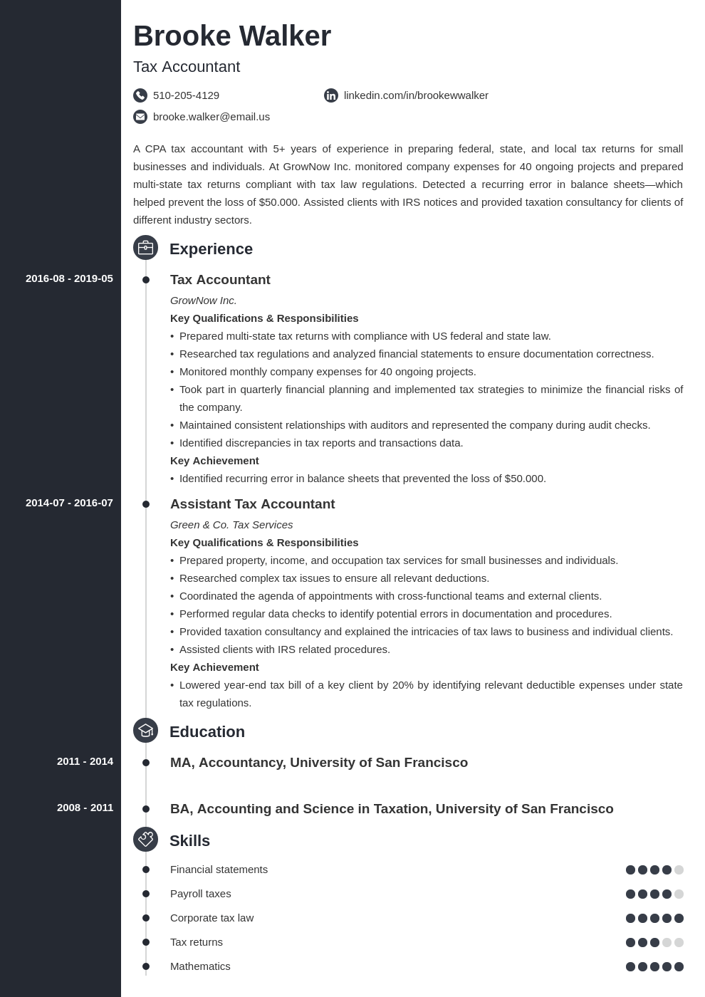 tax accountant resume example template concept