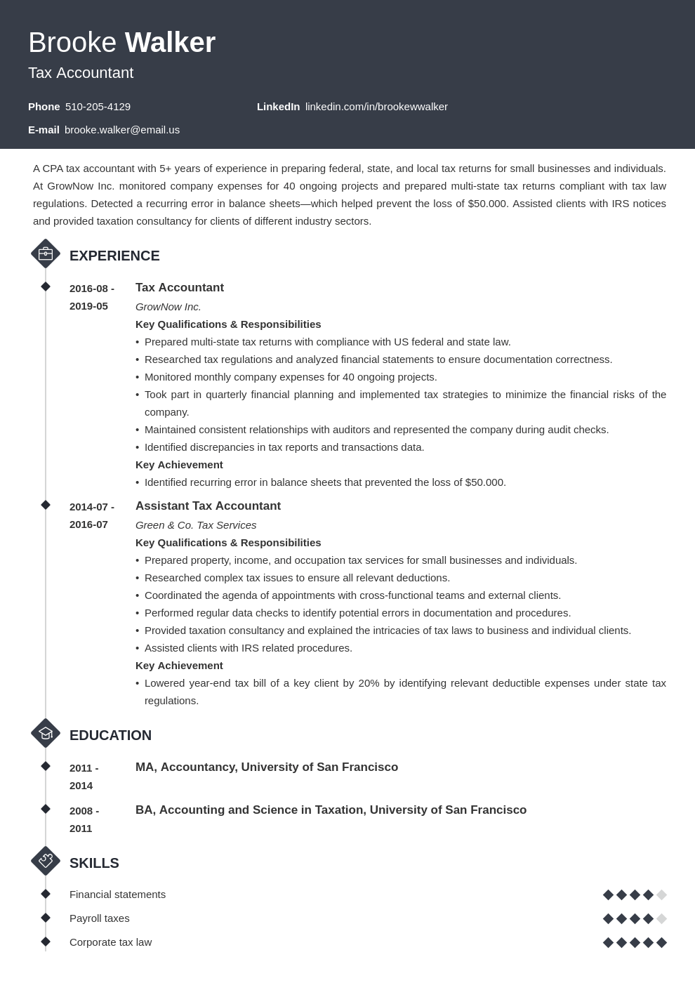 tax accountant resume example template diamond