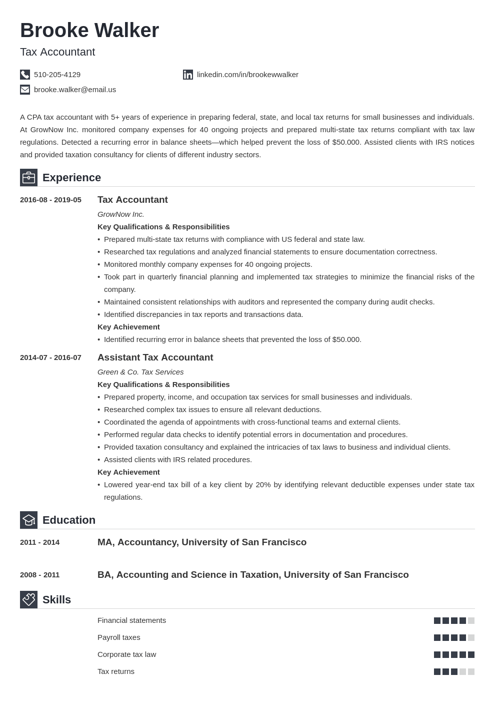 tax accountant resume example template iconic