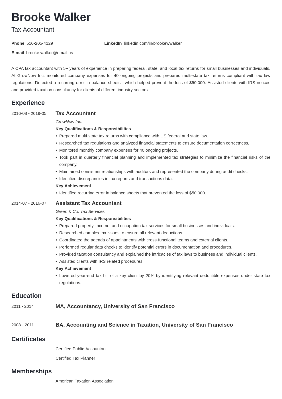 tax accountant resume example template minimo