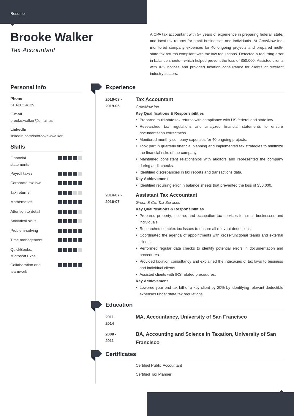 tax accountant resume example template modern