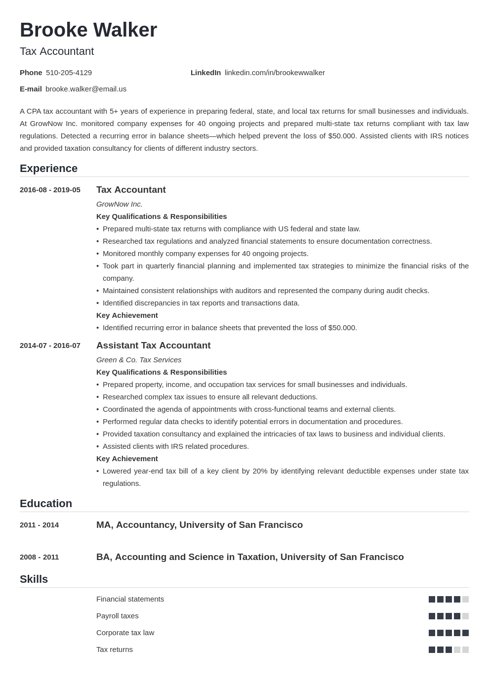 tax accountant resume example template nanica