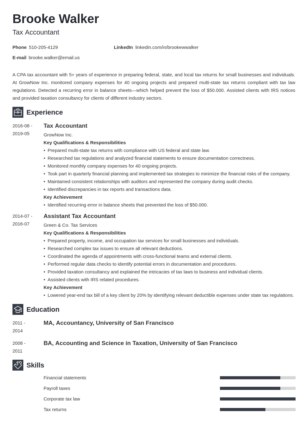 tax accountant resume example template newcast